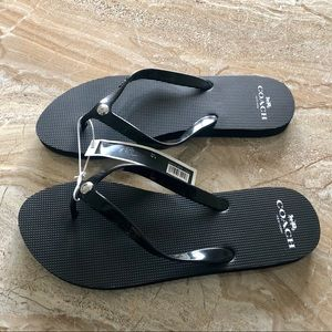 NWT Coach COH Flip Flops Black Size 7-8 Authentic